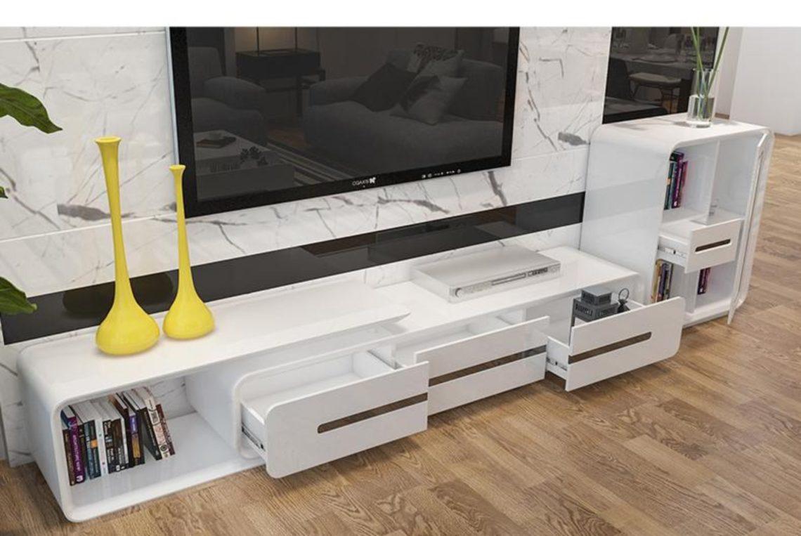 minimalist designer wooden panel TV Stand-modern-muebles