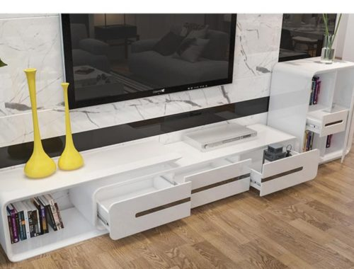 minimalist designer wooden panel TV Stand-modern-muebles