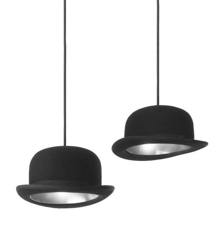 lampara reciclada con sombrero