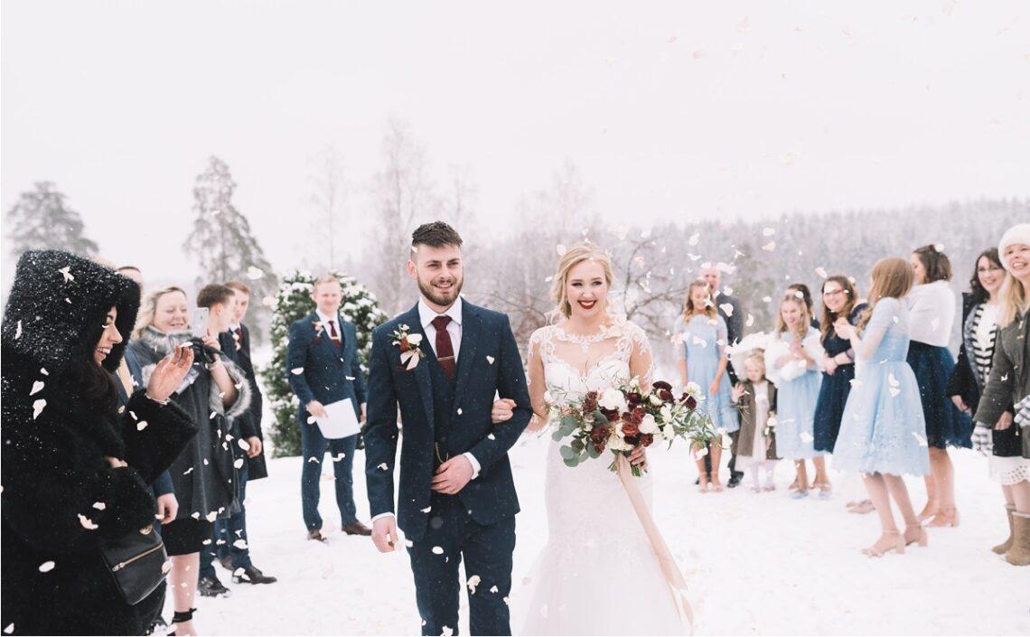 boda en invierno en la nieve