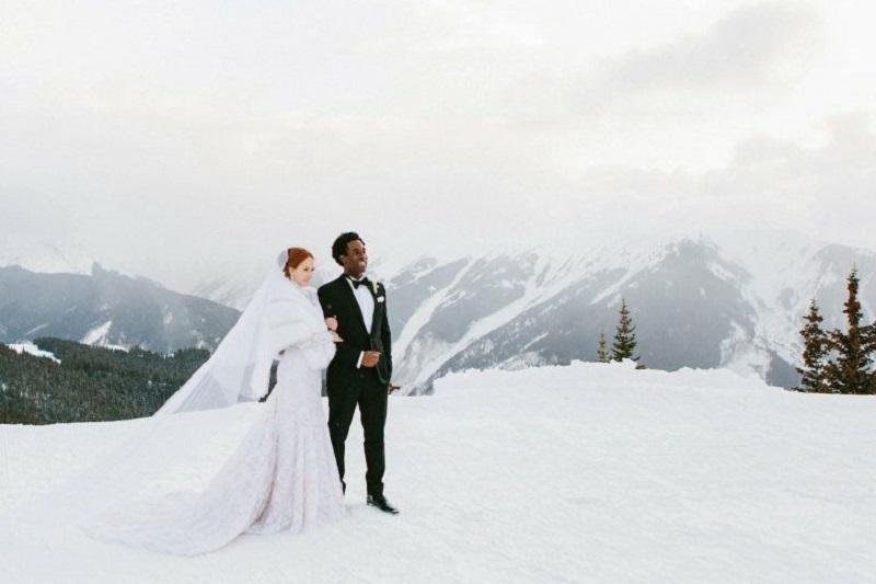 bonita boda en invierno